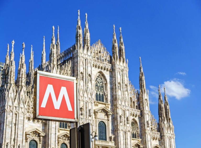Metro sign at Milan Cathedral