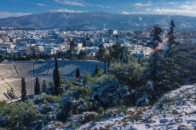 View of Athens and Panathenaic stadium in winter