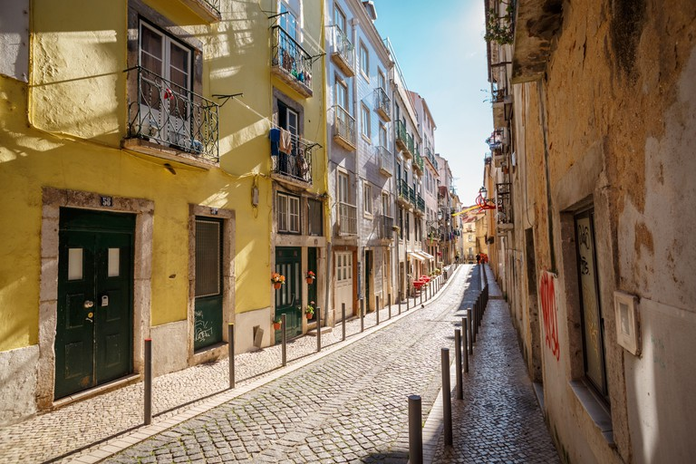 Narrow street in Lisbon, Portugal.