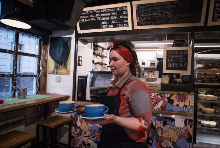 LavkaLavka cafe and shop selling farm-grown produce, in Moscow