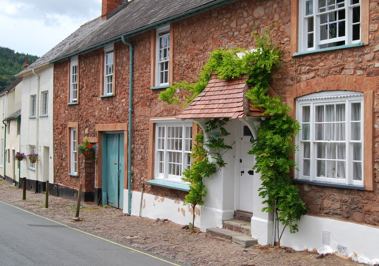 Stone Cottages in Dunster, Somerset, England