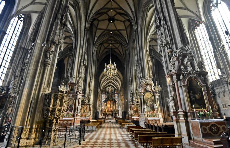 St. Stephen's Cathedral (Stephansdom) interior. Vienna, Austria.
