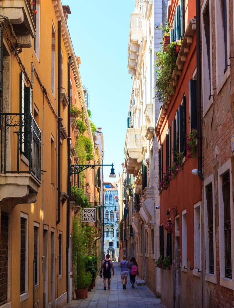 A narrow street in Venice
