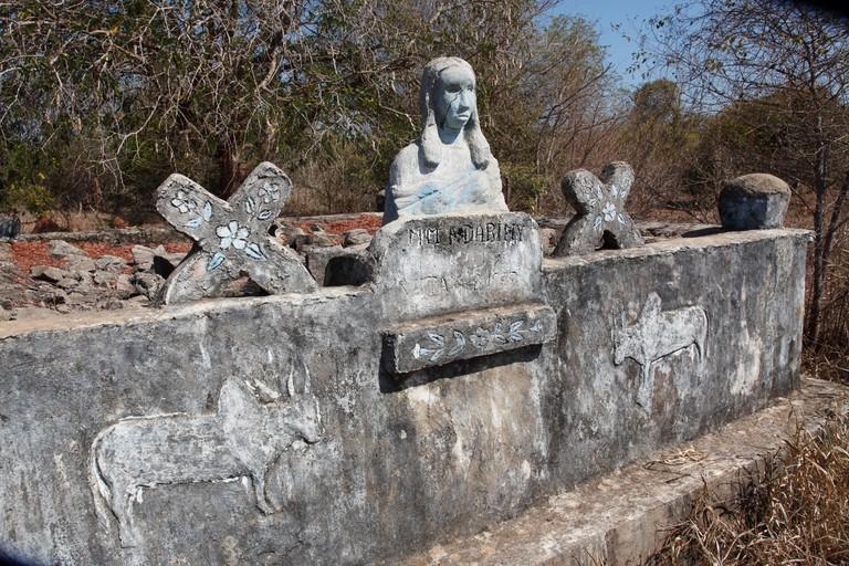 Detail of Sakalava tribal tomb between Kirindy reserve and Morondava