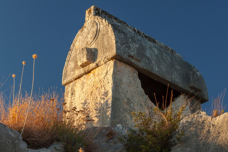 Lycian Tomb at sunset near Ucagiz