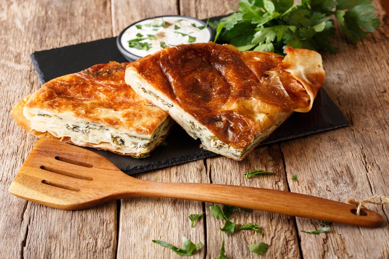 Burek, a classic Balkan pastry with cheese and spinach