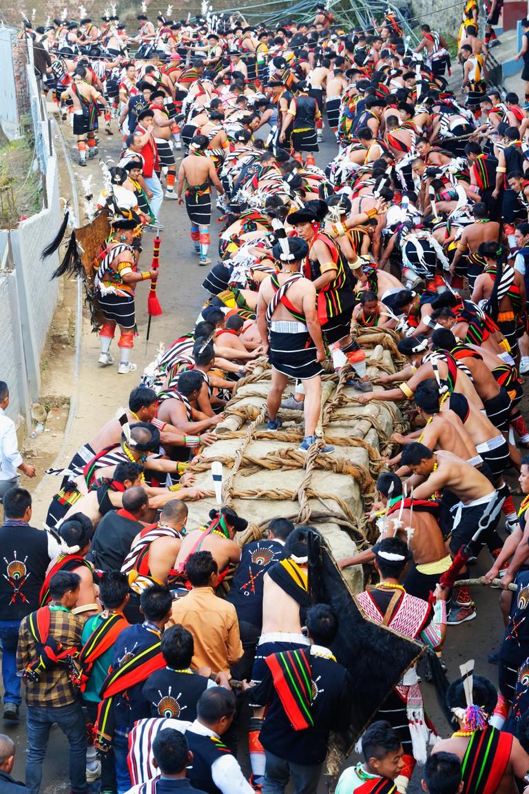 Stone pulling ceremony during Kisima Nagaland Hornbill festival, Kohima, Nagaland, India