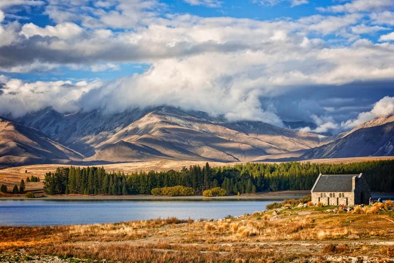 Lake Tekapo and the Church of the Good Shepherd, Canterbury, New Zealand, and the Two Thumb Range.