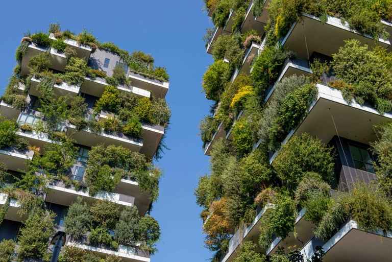 Milan Italy September 26th 2018:Vertical forest of Milan, the most innovative skyscraper in the world.