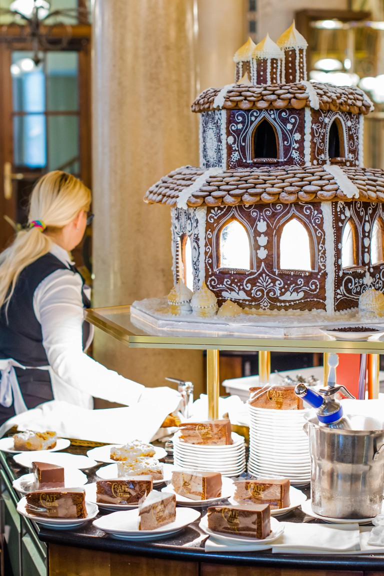 Chocolate sculpture and cakes on display at the famous Cafe Central on Herrengasse in the Innere Stadt, Vienna, Austria.