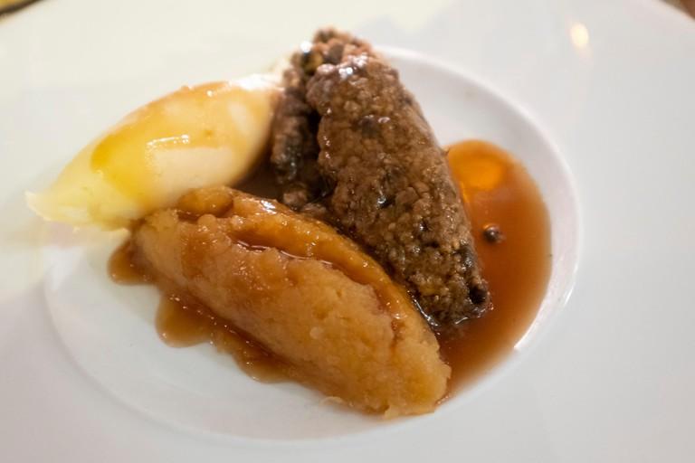 Haggis with neeps and tatties - typical Scottish dish