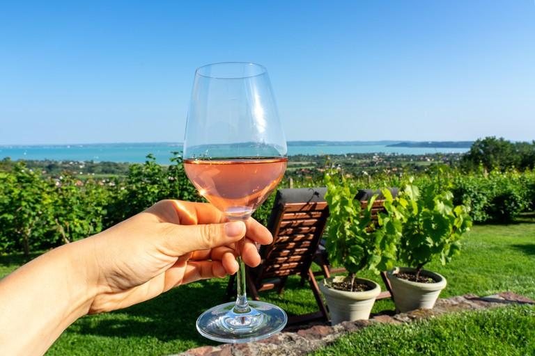 Drining refreshing rose wine over Lake Balaton in Csopak Hungary