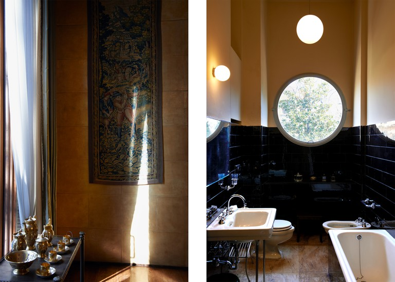 Left: Detail of objects in dining room. Right: Housekeeper's bathroom with round window