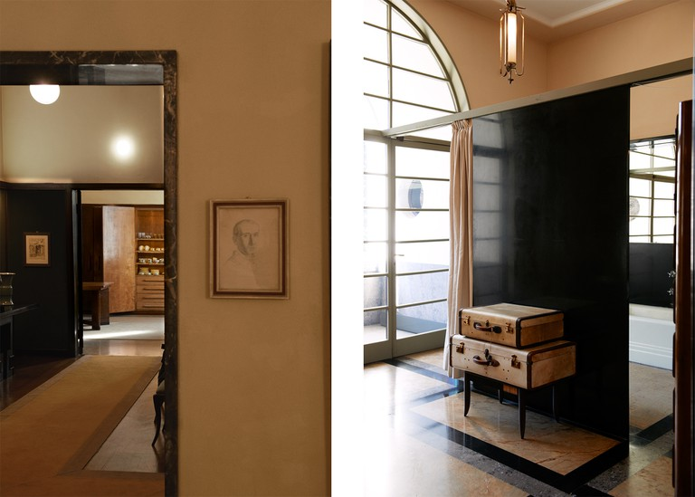 Left: Looking towards the kitchen area with objects belonging to the original owners alongside furniture designed by Italian designer Tomaso Buzzi commissioned after WW2. Right: Detail of one of the bedrooms