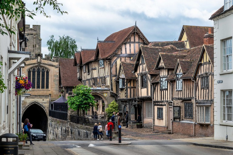 Lord Leycester hospital in Warwick, England, UK an historic building once used to house injured soldiers.
