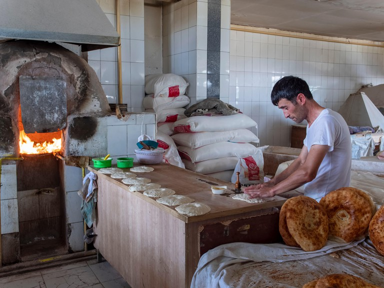 Bakery making traditional uzbekistan bread