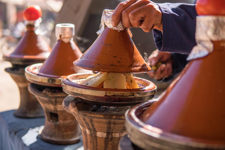 Traditional Tajine on an outdoor barbecue