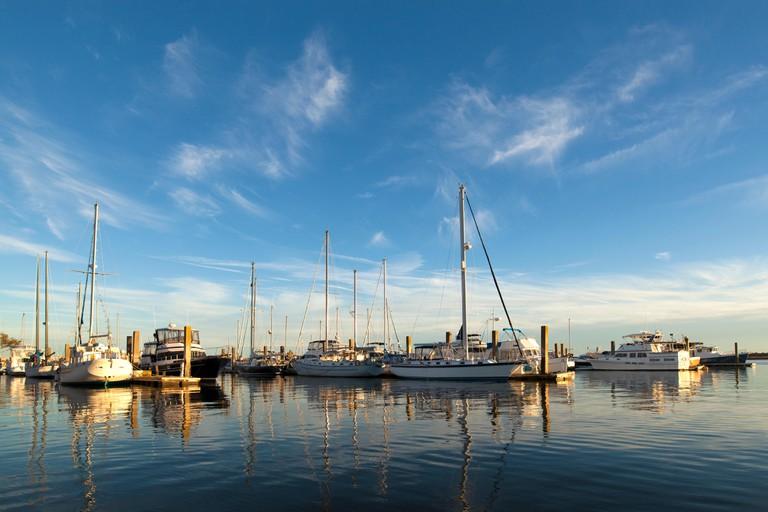 Sailboats in the marina in Beaufort, South Carolina
