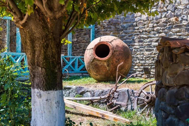 Barrel outside cellar wine company in Kakheti