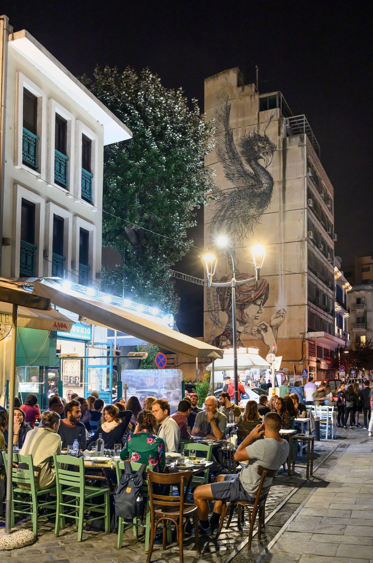Bars and restaurants in the popular Ladadika district of Thessaloniki Macedonia, Northern Greece