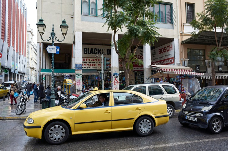 Athens taxi in trafic