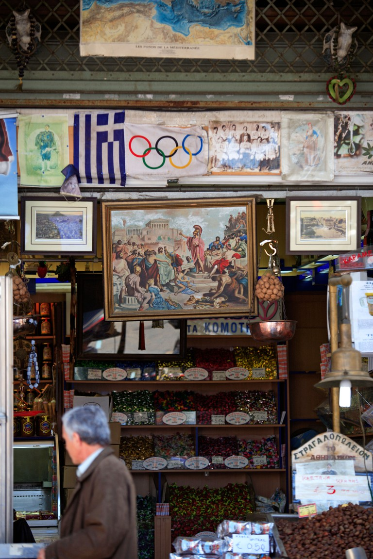 GREECE ATTICA ATHENS PLAKA A SWEET SHOP IN ATHINAS STREET