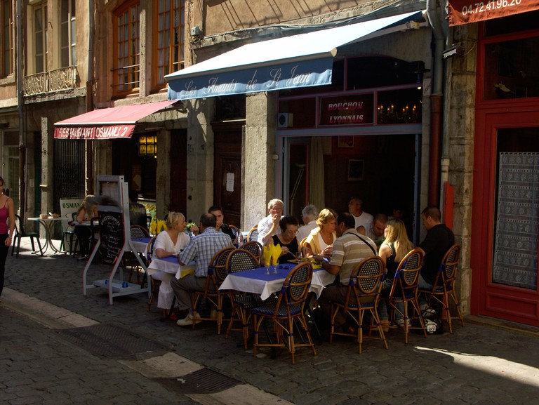 Small Bouchon restaurants in Rue St Jean, Lyons, France.