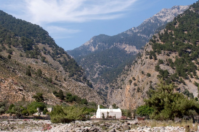 Chapel at the exit of the Samaria Gorge in Agia Roumeli, Crete, Greece, Europe