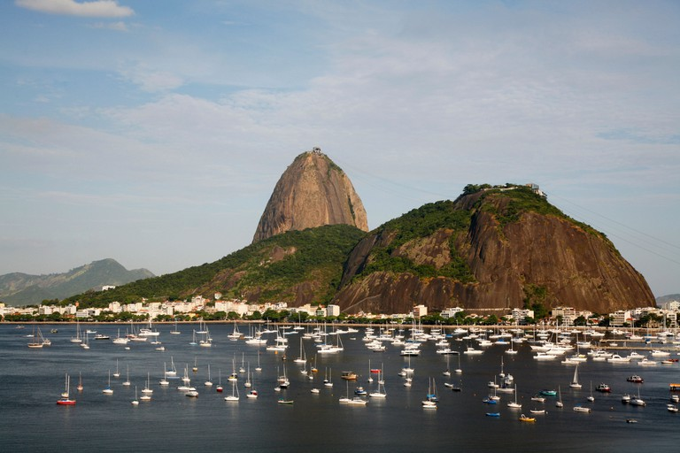 View of the Pao Acucar or Sugar loaf mountain and the bay of Botafogo, Rio de Janeiro, Brazil.. Image shot 02/2010. Exact date unknown.