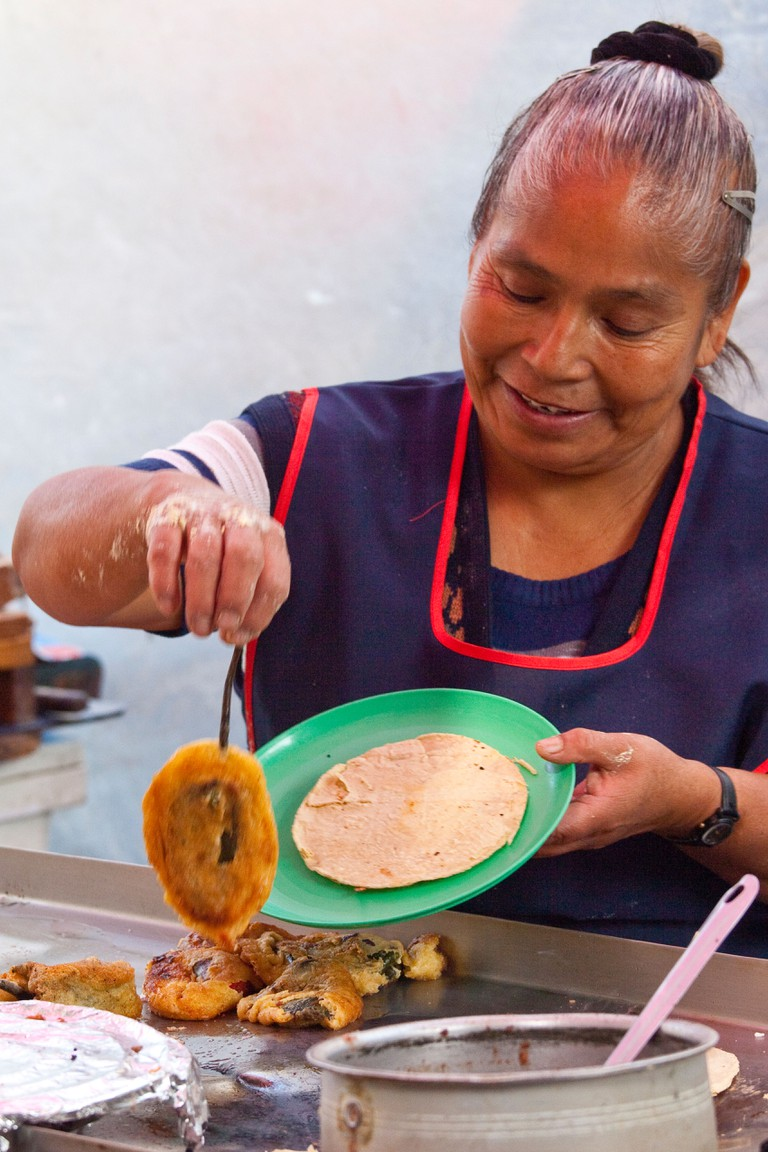 Chili relleno at a street vendor in Mexico City, Mexico
