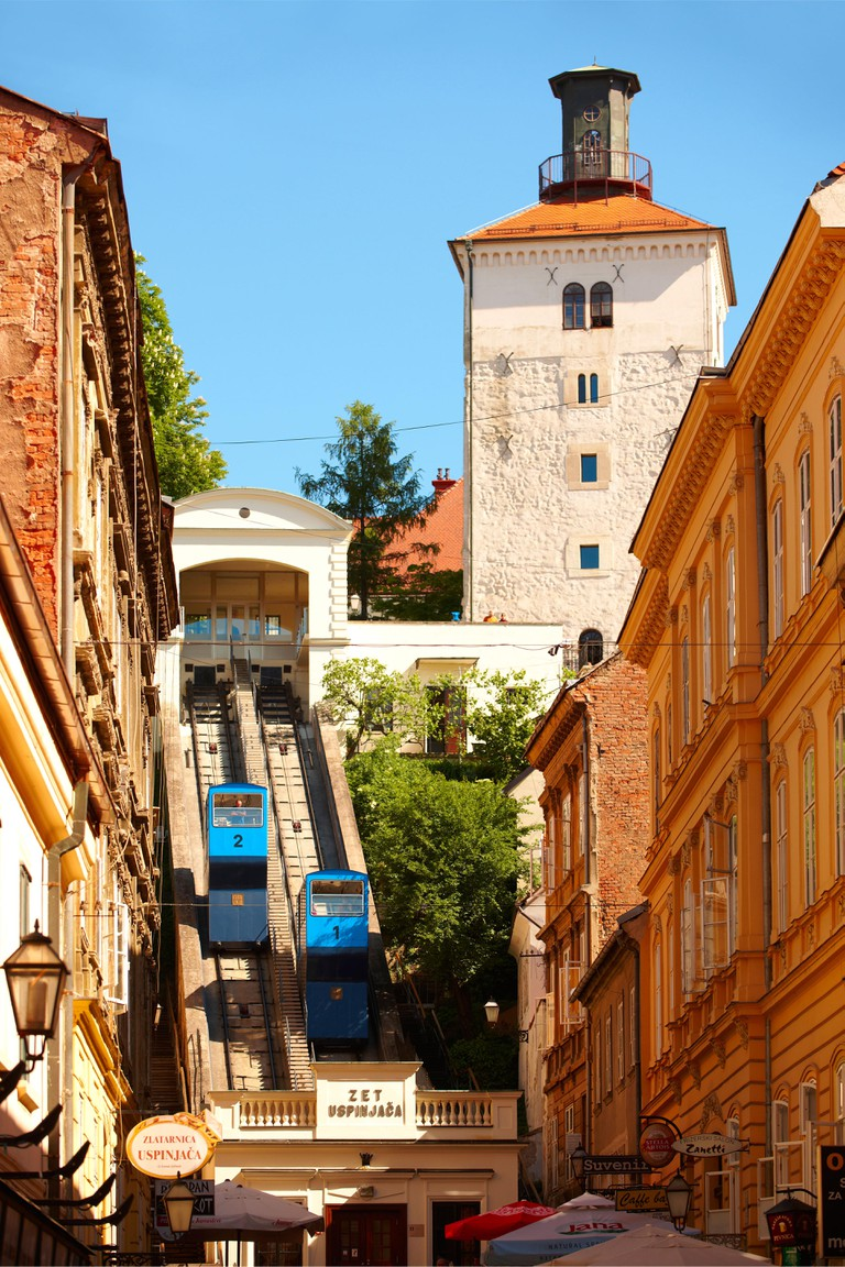 Lotršcak Tower and fenicular railway to the Gradec area, Zagreb, Croatia