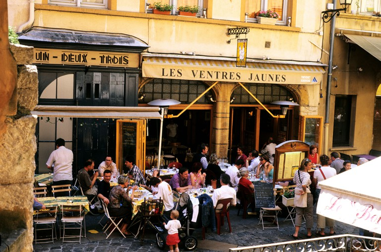 Restaurants of the place Neuve in the district Saint Jean, Lyon, France.