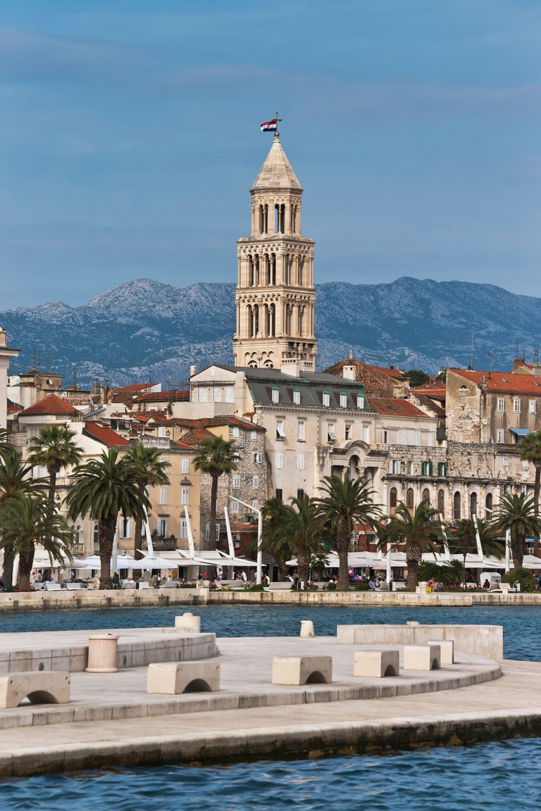 View to the old town and the bell tower of the Cathedral of Sveti Duje, part of the former Diocletian's Palace Split, Croatia