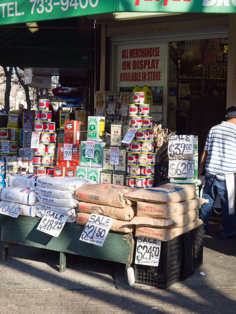 Packaged foods on display, Arthur Avenue, Bronx.