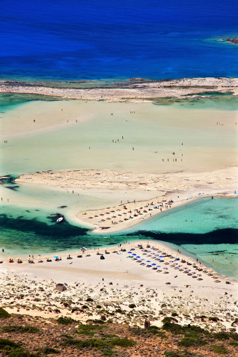 Balos (Gramvousa) beach on the norhwest coast of  Crete island, in Chania Prefecture, Greece.