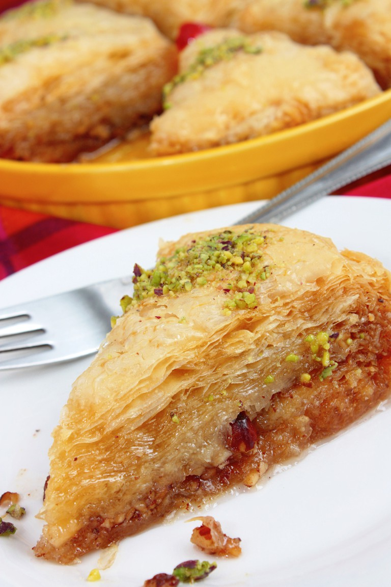 Baklava from Turkey or Greece with pistachio nuts, filo pastry and syrup.