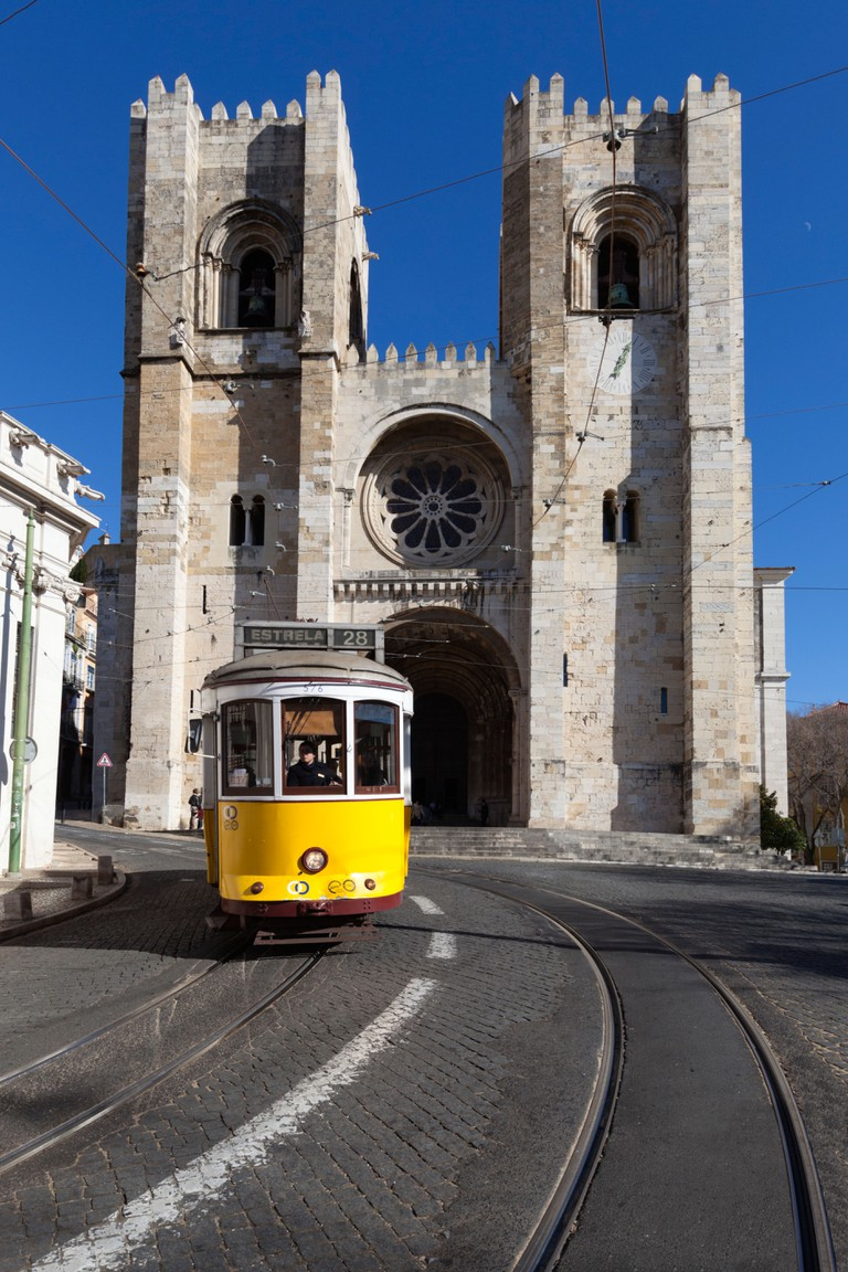 Se Cathedral and tram, Alfama, Lisbon.