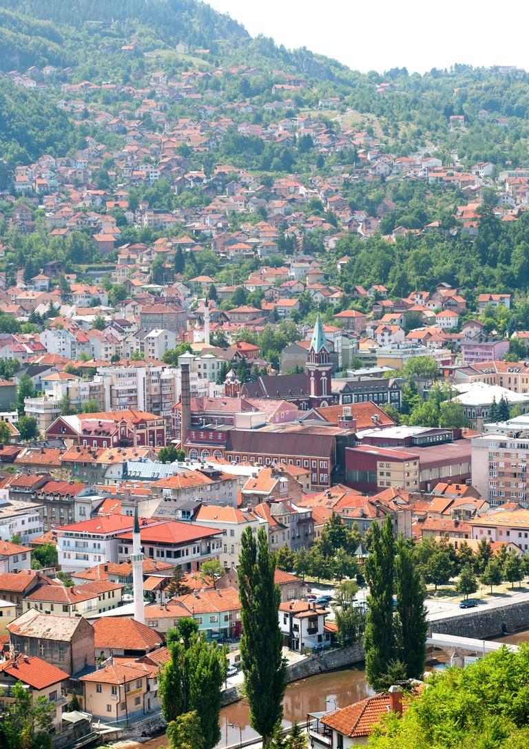 View across Sarajevo, the capital city of Bosnia and Herzegovina.