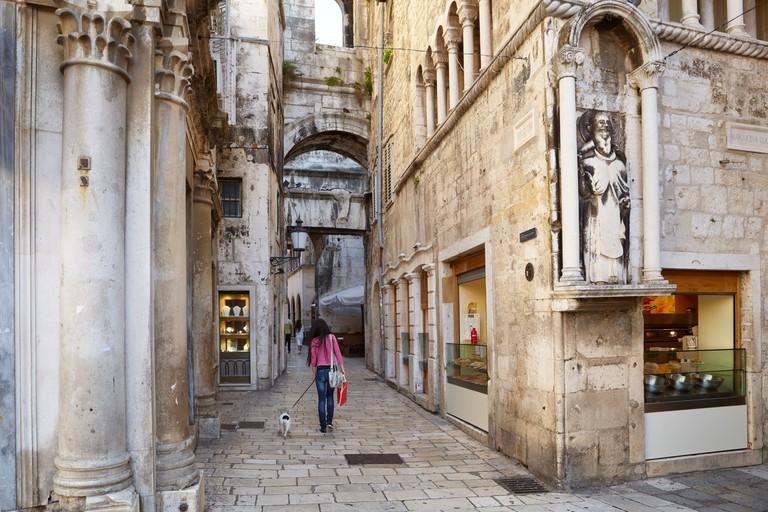 Split, Croatia, small street of the Old Town in Split, Dalmatia destination in Croatia