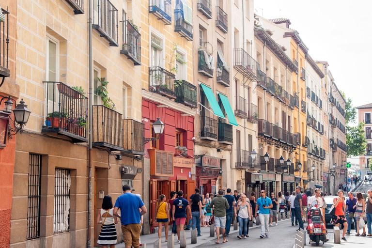 Bars and restaurants along Calle Cava Baja in La Latina, Madrid, Spain
