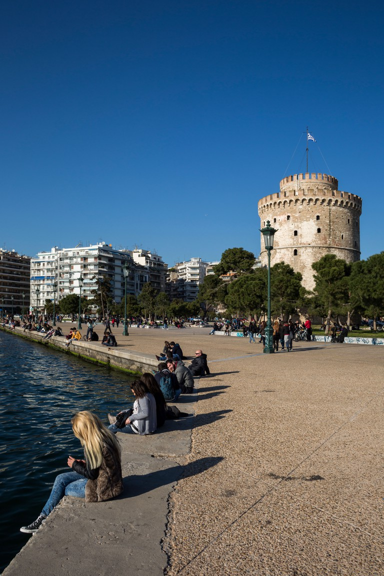 The White Tower, the landmark of the northern Greece city of Thessaloniki.