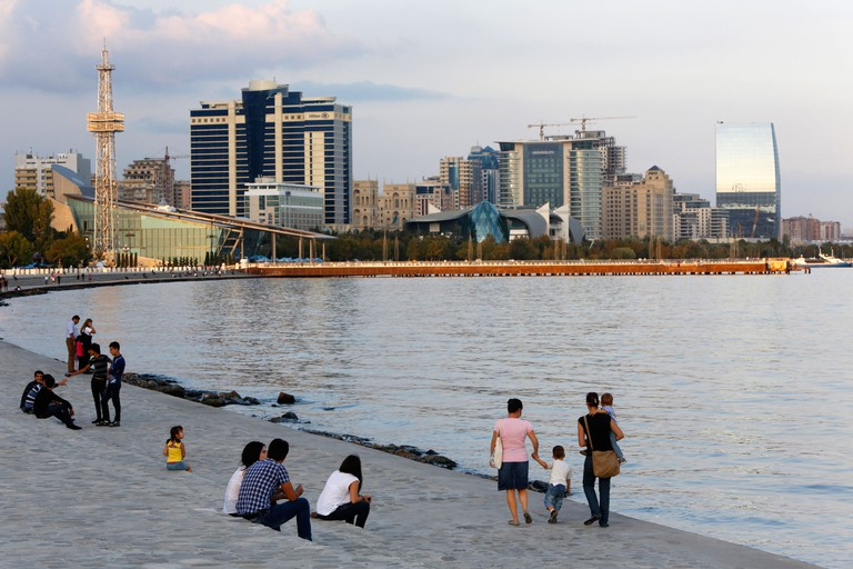 Baku boulevard, a promenade running parallel to the Caspian seafront, Baku, Azerbaijan, Central Asia