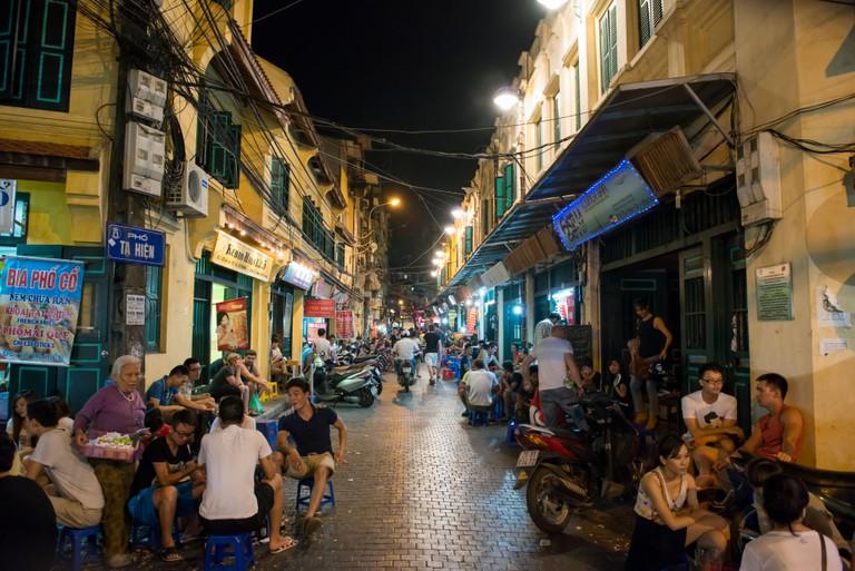 Out door drinking bar street, in Hanoi, Vietnam