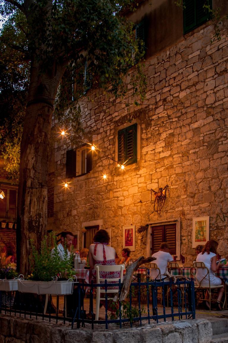 dinner on the restaurant terrace