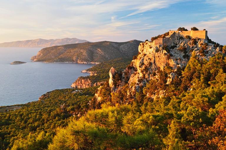 Monolithos Castle and Aegean Sea, Rhodes, Dodecanese, Greek Islands, Greece, Europe