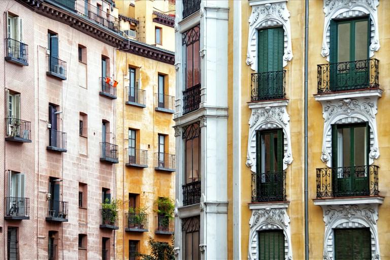 Residential buildings Street Calle de Cava de San Miguel in Madrid El Madrid de los Austrias Spain Europe