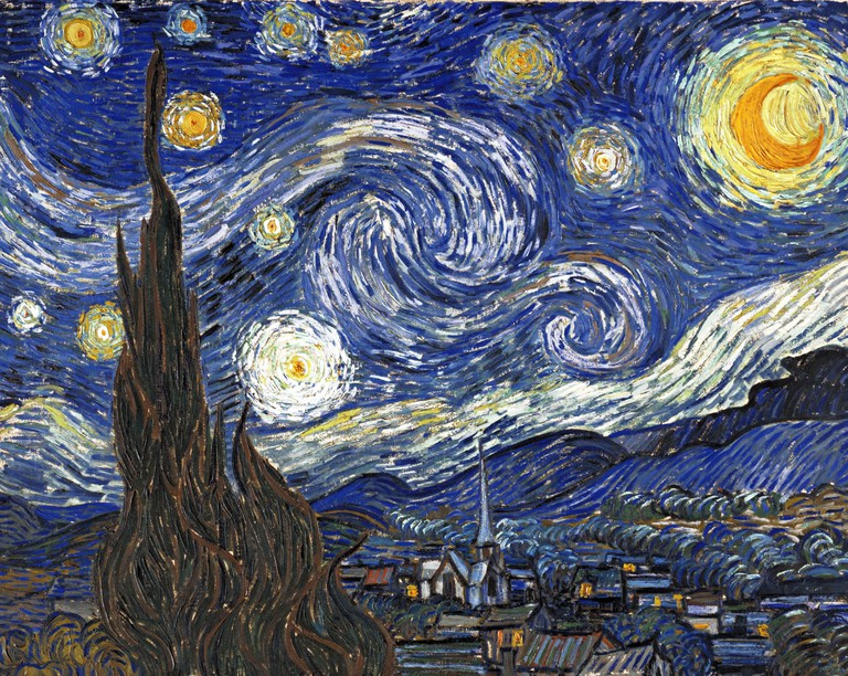 Starry Night' by Vincent Van Gogh (1853-1890) a post-impressionist painter of Dutch origin. Dated 1889.