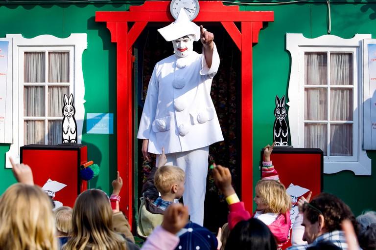 Entertaining the children in amusement park Bakken in Denmark Copenhagen