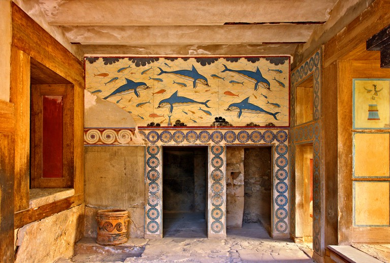 The Dolphins fresco from the Queen's Megaron at the Minoan palace of Knossos, Heraklion, Crete, Greece