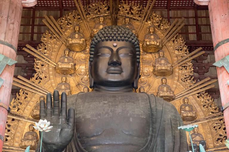Daibutsu (Great Buddha) inside the Daibutsu-den Hall, Todai-ji, Nara.